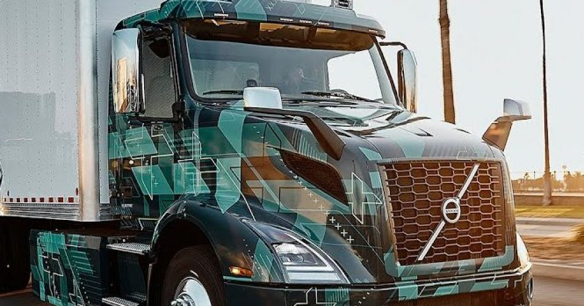 electric conventional trucks running under camouflage