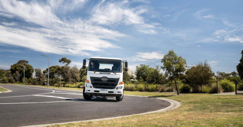 an Australian electric truck on the road