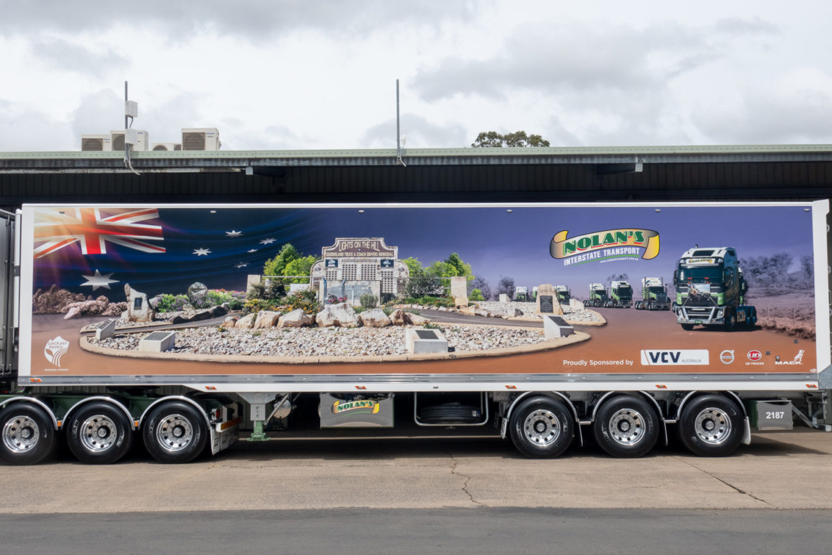 B-double trailer set commemorating truck drivers